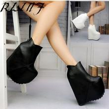 RLINF/пикантные короткие открытые туфли на высоком каблуке, на танкетке, с круглым носком, под платье Летняя женская обувь