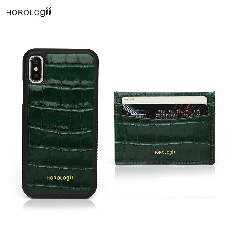 Horologii monogramme pour étui vert iphone X avec porte-carte en relief motif crocodile en cuir style chaud paquet cadeau livraison directe