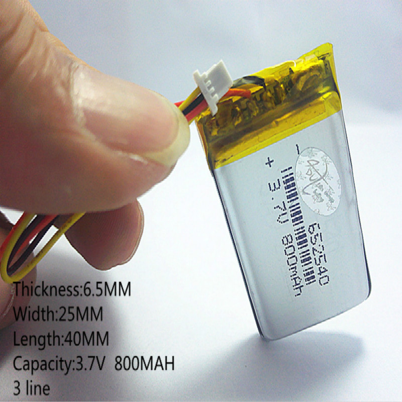 3 line lithium polymer core MODEL <font><b>652540</b></font> Li-Polymer 3.7v 800mah 1.7wh tachograph common rechargeable batteries image