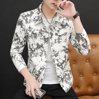 Halozeroo New Men's Camouflage Short Jacket Single Breasted Casual Coat Cotton Blends White Red Yellow Green Size M-3XL A9