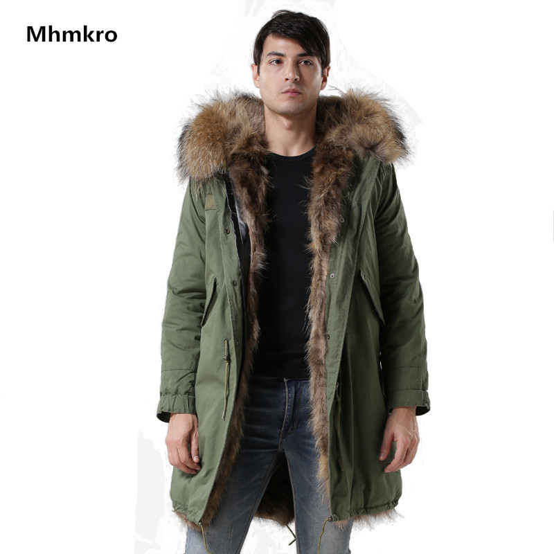 Winter Coat Fox Fur Lining Mens Army-green Coat Long Style Fashion Real Fox Collar Mens Windproof Parka Factory Price Outwear