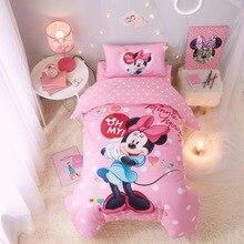 Disney Минни Маус детские наборы постельных принадлежностей Мягкая кроватка хлопок Микки Маус кровать набор пододеяльник наволочка, Чехол на подушку пододеяльник