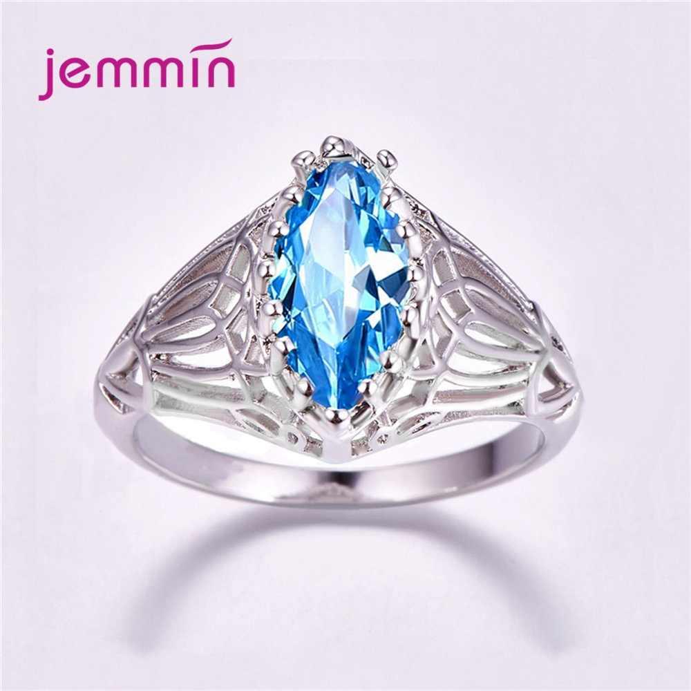 Europa América Estilo Simples Azul Cristal Esmeralda Do Vintage 925 Anéis de Prata Esterlina Para Mulheres Jóias Cúbicos de Zircônia