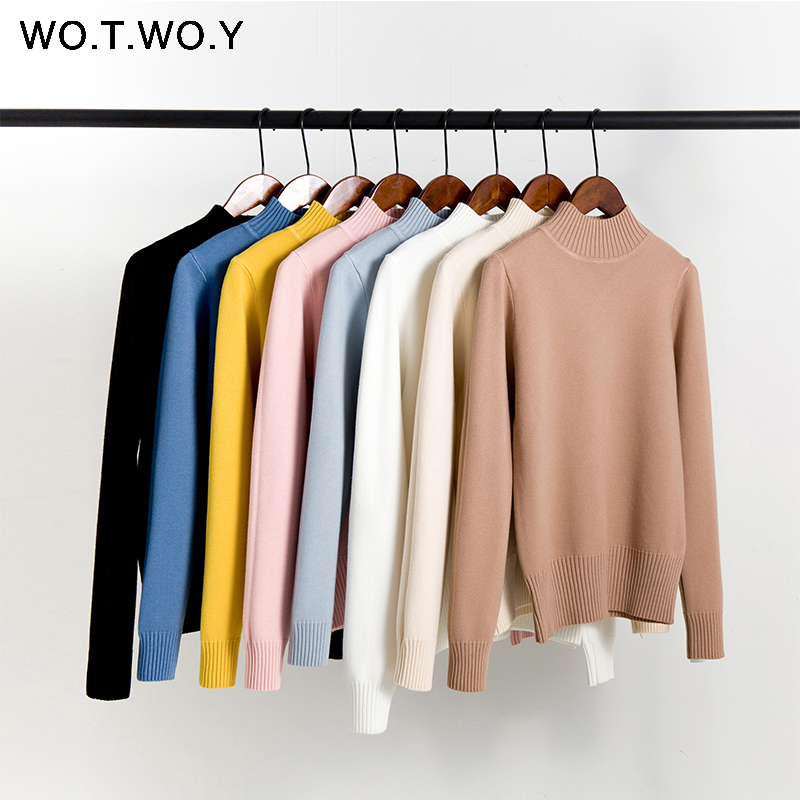 WOTWOY Autumn Winter Basic Knitted Cotton Sweater Women 2020 Rib O-neck Cashmere Female Pullover Casual Thick Women Clothes