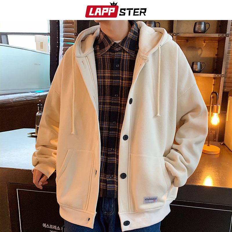 LAPPSTER Men Japanese Streetwear Jackets 2020 Winter Hooded Jackets Coats Mens Wool Inside Thick Windbreaker Baseball Jacket 5XL