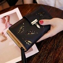 Frauen Brieftasche PU Leder Geldbörse Weibliche Lange Brieftasche Gold Hohl Blätter Beutel Handtasche Für Frauen Geldbörse Karte Halter Kupplung