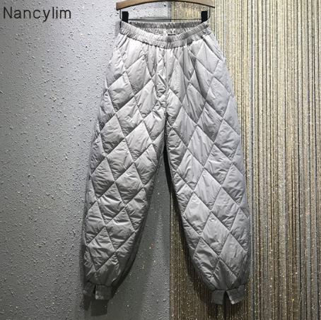 Winter Trousers Women's Thick Quilted Pants High Waist New Loose Large Size Casual Warm Trousers Pants For Mom Nancylim