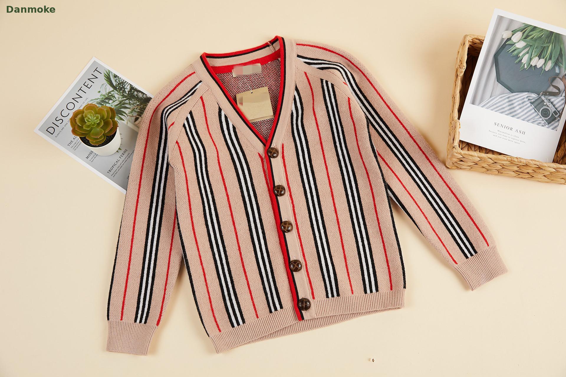 Danmoke Cashmere Boys And Girls Sweaters Tops Striped Kids Cardigan Jackets Anutumn Winter 3-8y