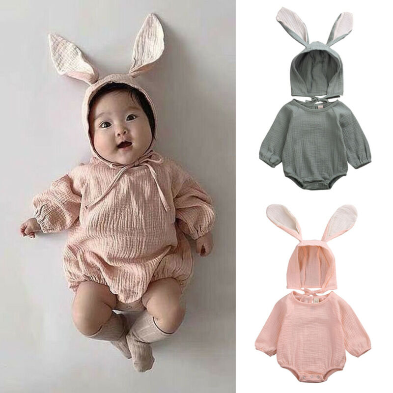 Cute Bodysuits Newborn Baby Girls Clothes Romper Jumpsuit Body Suit+Rabbit Ear Hat Fall Cute Outfits