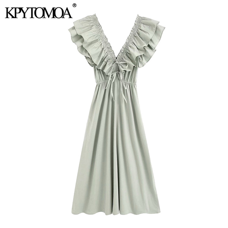 KPYTOMOA Women 2020 Chic Fashion With Ruffles Pleated Midi Dress Vintage V Neck Elastic Ties Female Dresses Vestidos Mujer