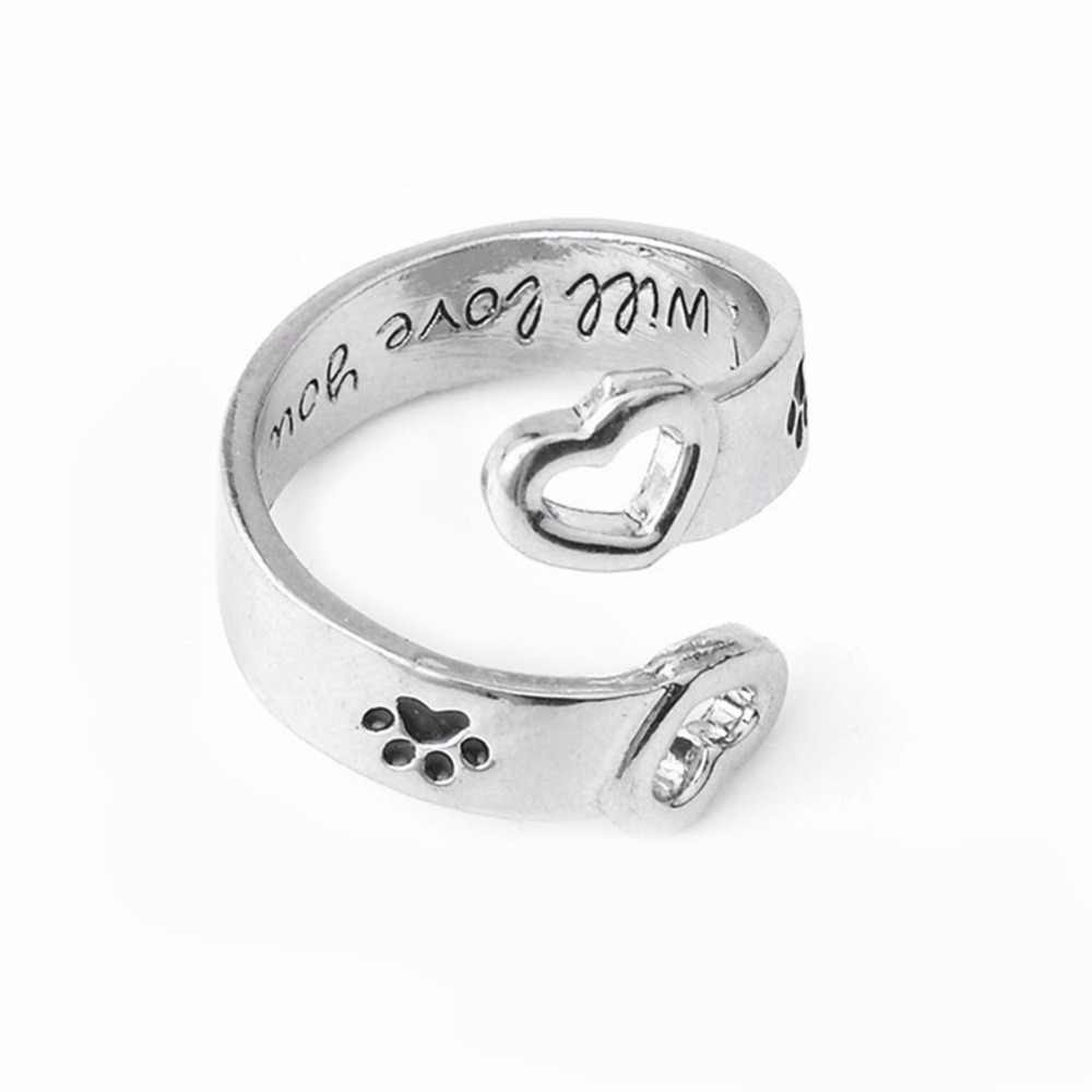 Letter โค้ง Pet Paw พิมพ์แหวนสุนัขแมว Memorial สีดำแหวนคู่เครื่องประดับ