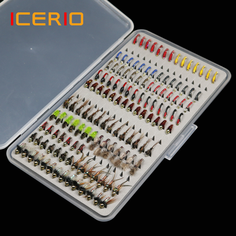 ICERIO 133pcs/Set Ultra-thin Portable Nymph Scud Midge Flies Kit Assortment With Box Trout Fishing Fly Lures