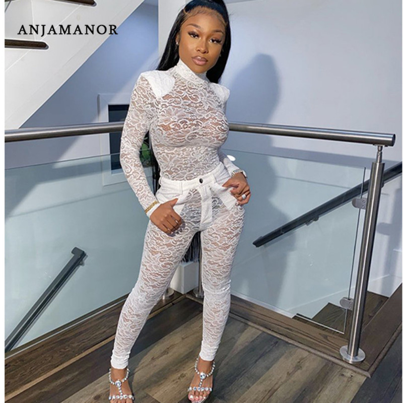 ANJAMANOR See Through Lace Sexy Club Two Piece Set Top And Pants New Products 2020 Party Bodycon 2pcs Sets Womens Outfits D37AF5