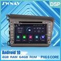 PX6 4G + 64G Android 10 0 автомобильный DVD стерео Мультимедиа для Honda Civic 2013-2015 радио GPS Navi Аудио Видео Стерео головное устройство бесплатная карта