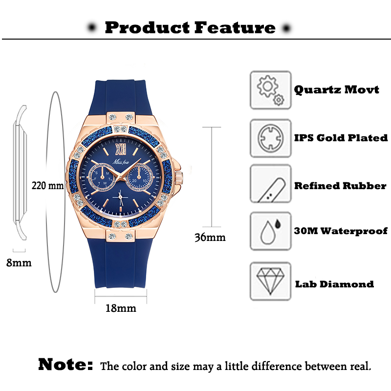MISSFOX Women's Watches Chronograph Rose Gold Sport Watch Ladies Diamond Blue Rubber Band Xfcs Analog Female Quartz Wristwatch 3