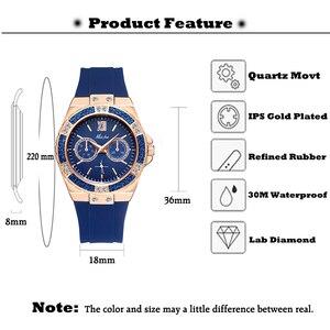 Image 3 - MISSFOX Relógios Chronograph Rose Gold Relógio Do Esporte Das Senhoras das Mulheres Diamante Azul Xfcs Feminino Analógico Quartz relógio de Pulso da Faixa de Borracha