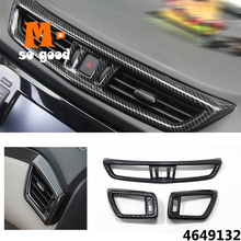 цена на Middle Air Conditioning AC Outlet Vent Cover Trim Auto Accessories ABS Carbon Fiber 2015 2016 2017 2018 for Nissan Qashqai J11