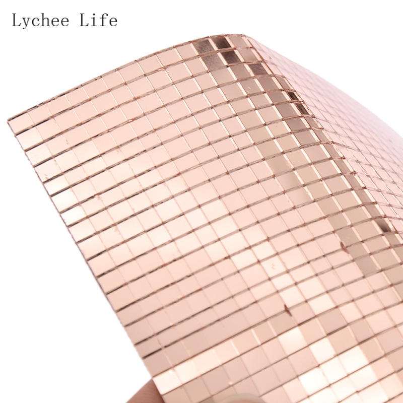 Lychee Life 30*15*0.4CM Rose Gold Mosaic Tiles Patch Wall Sticker For DIY Hand Crafts Home Decoration