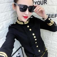 new arrival spring autumn military style blouse women stand collar single breasted tops shirt