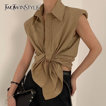TWOTWINSTYLE Casual Loose Shirt Female Lapel Collar Sleeveless Ruched Elegant Bloues For Female Fashion Clothes 2020 Summer Tide elegant triangle alloy shirt collar tips necklace silver