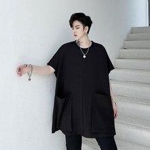 T-shirt à manches courtes pour homme, vêtement masculin, ample, design à la mode, avec grande poche, style japonais
