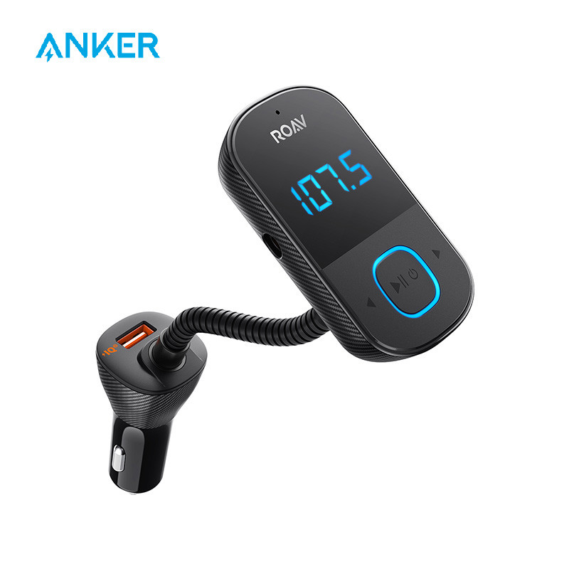 Anker Roav SmartCharge T1, Bluetooth FM Transmitter for Car, Audio Adapter and Receiver with Big LED Display, PowerIQ 2.0