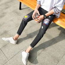 mens hole embroidery Print jeans slim Ripped Jeans  Slim Fit Skinny Hip hop Destroyed Hole TapedDenim Scratched Jean Popular