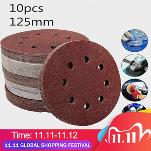 Image 1 - 10Pcs 125mm Grit Round Shape Sanding Discs Buffing Sheet Sandpaper 8 Hole Polishing Pad Sander 80/180/240/320/1000/1500/2000