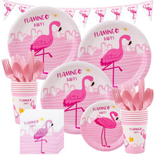 Flamingo Pink Birthday Party Supplies Disposable Tableware Set Plate Cups Tablecloths Baby Shower Hawai Wedding Party Decoration(China)
