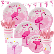 Flamingo Pink Birthday Party Supplies Disposable Tableware Set Plate Cups Tablecloths Baby Shower Hawai Wedding Party Decoration