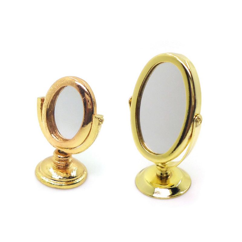 1:12 Scale Dollhouse Miniature Vintage Mini Retro Copper Vanity Mirror Furniture