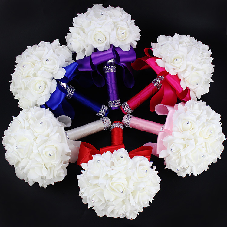 2019 Good Quality Cheapest PE Rose Bridesmaid Wedding Foam flowers Rose Bridal bouquet Ribbon Fake Wedding bouquet de noiva 6