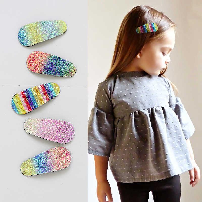 1 Pasang Baru Fashion Gradien Warna Pelangi untuk Anak Perempuan Bayi Putri Rambut Pin Jepit Rambut Lucu Unicorn Warna Rambut Klip Anak hiasan Kepala