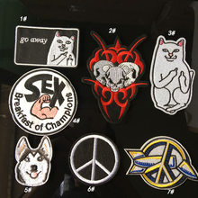 Peace Cat Hip-hop Style Patches for Clothing Iron on Clothes Coat Appliques Punk Skull Dog Badges Embroidered Parches(China)