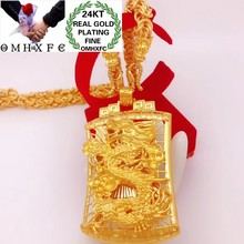 OMHXFC Wholesale YM361 European Fashion Hot Fine Woman Man Party Birthday Wedding Gift Vintage Dragon 24KT Gold Pendant Necklace(China)