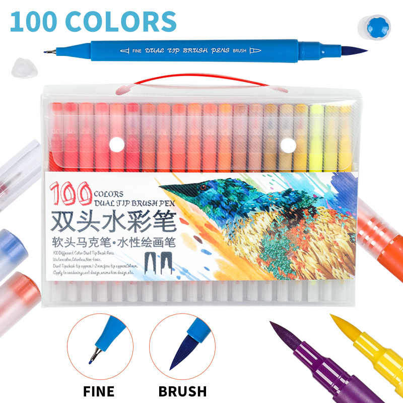 12/24/36/48/60/72/100Color Dual Brush Pen Set Water Based Brush Marker For Kids Coloring Book Drawing Color Pen Supplies