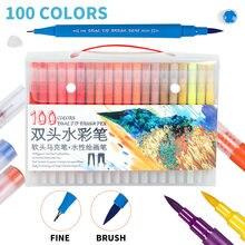 12/24/36/48/60/72/100 di colore Dual Brush Pen Set A Base di Acqua pennello Marcatore per I Bambini Da Colorare Libro di Disegno Penna di Colore di Forniture