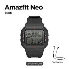 Versão global amazfit neo smartwatch 28 dias vida útil da bateria design retro 5atm 3 modos de esportes faixa freqüência cardíaca monitor sono