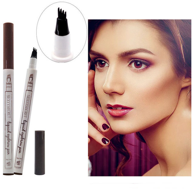 1pc 4 Head Fine Sketch Liquid Pencil Microblading Eyebrow Tattoo Pen Waterproof Brown Thin Pen Eyebrow Enhancers  Makeup Tool 2