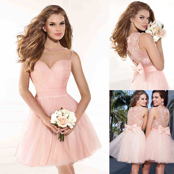 Short Party Prom Gown 2018 Sexy Illusion Free Shipping New Arrival Pink A Line Vestido De Noiva Festa Custom Bridesmaid Dresses
