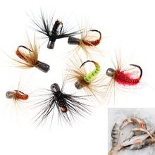 6pcs Winter Pesca Fast Sinking Hook Fly Bait Weighted Fishing Fly Worms Ice Fishing Jigs 1g 0.7g 0.5g 0.3g Mix Colors