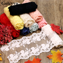 1Meter Colorful Embroidered Lace Trims Fabric Ribbon Wedding Skirt DIY Sewing Crafts 13cm Width