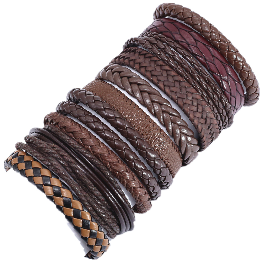 10 Pcs/set Weave Wrap Leather Men Bracelets for Women Bangles Femme Homme Male Jewelry Pulsera Hombre Erkek Bileklik Wholesale(China)
