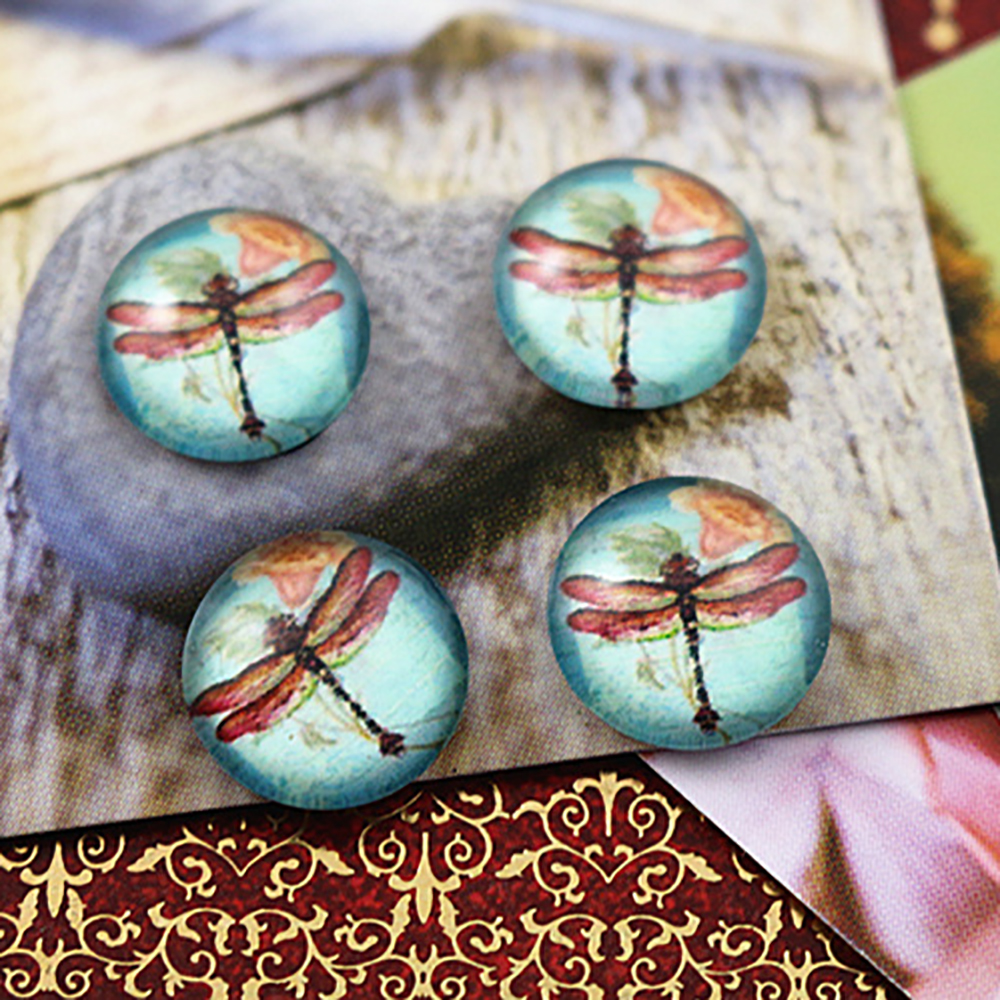 Hot Sale 20pcs 12mm Handmade Photo Glass Cabochons (Dragonfly)  (E2-32)