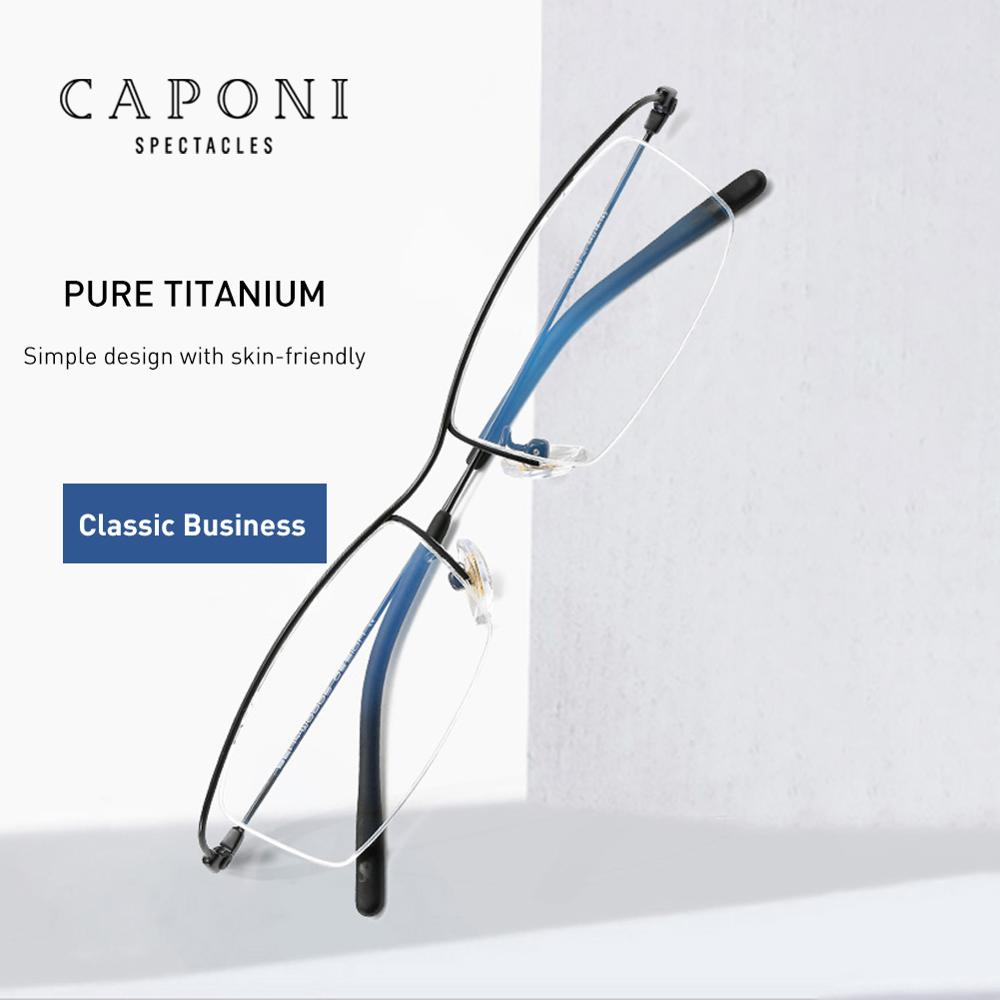 CAPONI Pure Titanium Glasses Frame Blue Light Blocking Computer Glasses Women Ultralight Business Study Eyeglasse Men JF6106