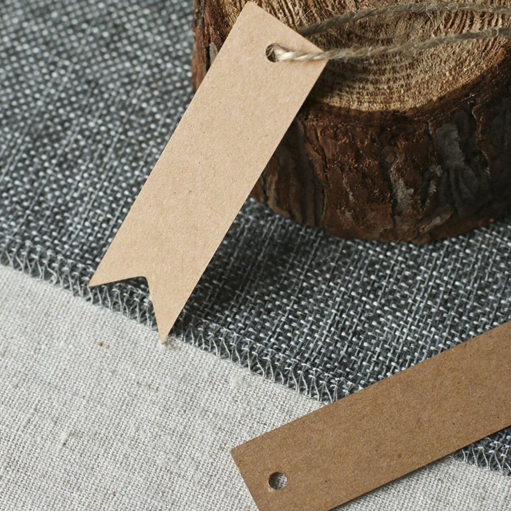200PCS Label Paper Tag Blank Kraft Paper Fishtail Tag Baking Gift Packaging Label Message Card Decorating 1.13