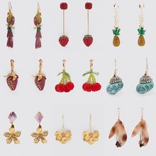 Ztech 2020 Za Trendy Cute Fruit Pineapple Cherry Tassel Long Drop Earrings Women Boho Shell Rhinestone Dangle Jewelry