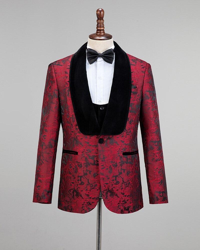 Burgundy Velvet Lapel Jacquard Black Men Wedding Grooms Suits Groomsmen Tuxedos 3 Pieces Jakcet Vestpants