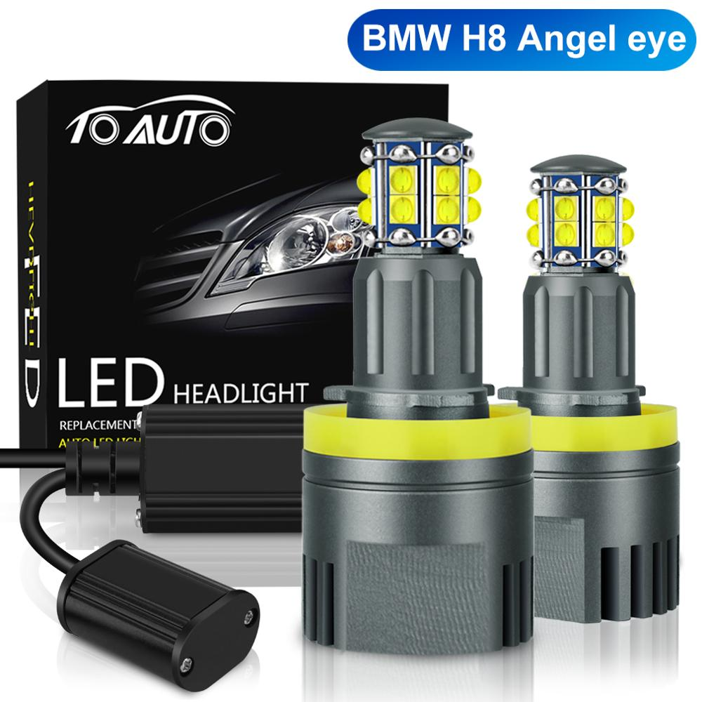 2pcs H8 LED Angel Eyes Headlight Led Marker Lights Canbus For BMW X5 E70 X6 E71 E90 E91 E92 M3 E89 E82 E87 Auto Head Lamp 12V