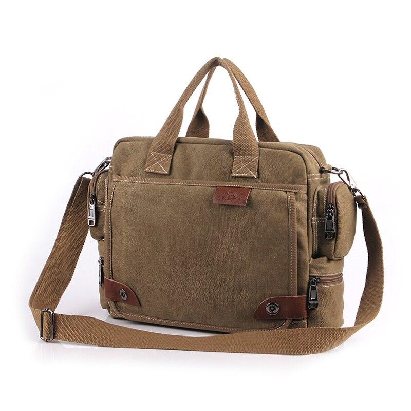 Nouveau Vintage toile sac à main sac à bandoulière hommes Patchwork en cuir Messenger sacs à bandoulière décontracté hommes casual serviette pochette d'ordinateur 1101